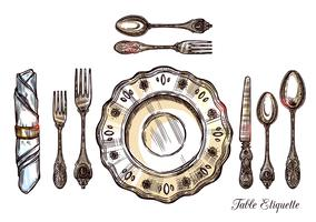 Tabel Etiquette Hand getrokken illustratie vector