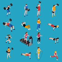 Gym Isometrische Icons Set vector