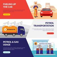 Benzinepomp Banners Set vector