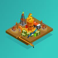 Olie-industrie productie winst Isometrische Poster vector