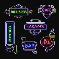 Neonborden Realistische nacht Icons-collectie