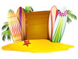 Zomer vakantie Poster Surfboards Starfish vector