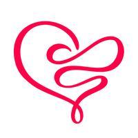 Hand getekend hart liefde teken. Romantische kalligrafie vectorillustratie. Concepn pictogram symbool voor t-shirt, wenskaart, poster bruiloft. Ontwerp platte element van dag van de Valentijnskaart vector
