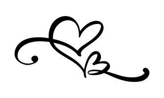 Hand getekend twee Hart liefde teken. Romantische kalligrafie vectorillustratie. Concepn pictogram symbool voor t-shirt, wenskaart, poster bruiloft. Ontwerp platte element van dag van de Valentijnskaart vector