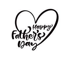 Gelukkige Vaderdag die zwarte vectortalligrafietekst in de vorm van een hart van letters voorzien. Moderne vintage letters met de hand geschreven zin. Beste vader ooit illustratie