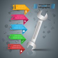 Moersleutel, schroef, reparatiesymbool. Zakelijke infographic. vector