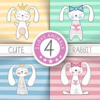 Schattige kleine prinses - cartoon konijn. vector