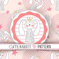 Leuk naadloos patroon - konijnbeeldverhaal. vector