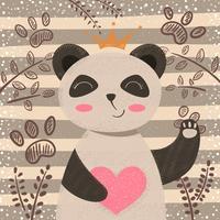 Prinses schattige panda - stripfiguren vector