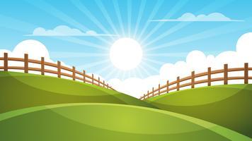 Hek, cartoon landschap. Zon, wolk, hemelillustratie.