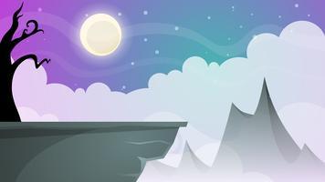 Reizen nacht cartoon landschap. Boom, berg, komeet, ster, moo