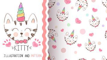 cute kitty, unicorn - seamless pattern