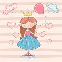 Schattige kleine prinses met luchtballon vector