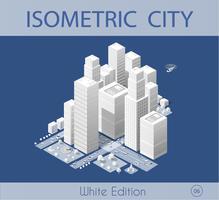 De isometrische stad met wolkenkrabber