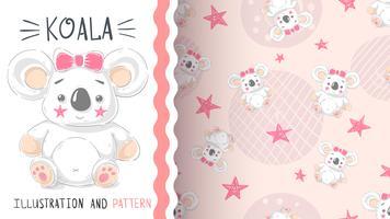 Leuke teddy koala - naadloos patroon vector