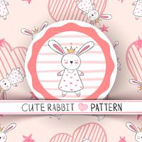 Schattige kleine prinses - konijn cartoon. vector