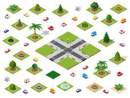 Crossroads instellen stadsstraat vector