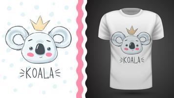 Leuke koala - idee voor print t-shirt. vector