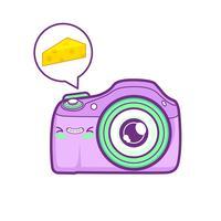 schattige camera sticker emoticon vector