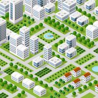 Vector isometrische stedelijke architectuur