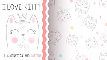 Schattige kleine prinses - naadloos patroon