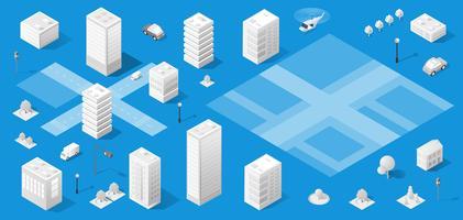 De isometrische stad met wolkenkrabber vector