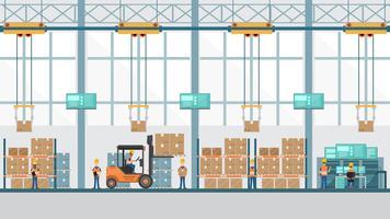 slimme industriële fabriek in een vlakke stijl met arbeiders, robots en assemblagelijnverpakking.