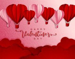 Happy Valentijnsdag typografie vector ontwerp met papier gesneden rood hart vorm hete lucht ballonnen vliegen