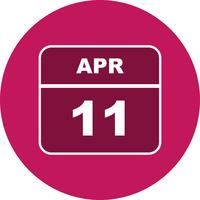 11 april Datum op een eendaagse kalender vector