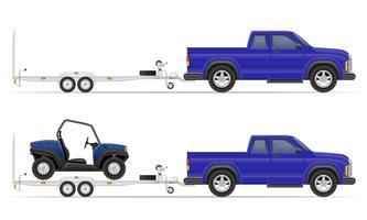 auto pick-up met aanhangwagen vectorillustratie