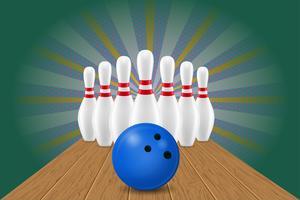 bowling bal en pin vectorillustratie