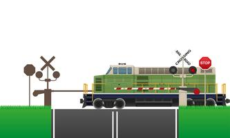 spoorwegovergang vectorillustratie
