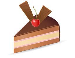stuk chocoladetaart met kersen vectorillustratie