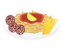 pasta op een plaat vectorillustratie