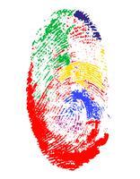 vingerafdruk van verschillende kleuren vectorillustratie