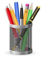 stel pictogrammen pen en potlood vectorillustratie