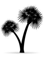 palmboom zwarte omtrek silhouet vectorillustratie