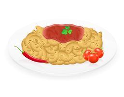 pasta op een plaat met groenten vectorillustratie