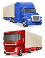 grote blauwe en rode vrachtwagens vectorillustratie