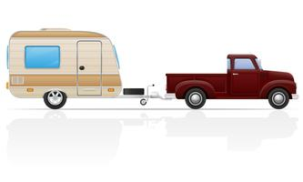oude retro auto pick-up met aanhangwagen vectorillustratie