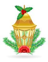 retro Kerstmis uitstekende straatlantaarn vectorillustratie
