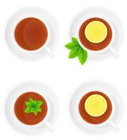 porseleinen kopje thee met citroen en mint bovenaanzicht vectorillustratie