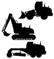 auto-uitrusting voor wegwerkzaamheden zwart silhouet vectorillustratie