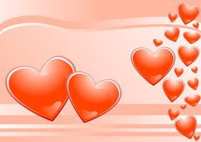 harten en roze achtergrond vector