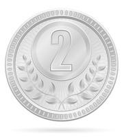 medaille winnaar sport zilver voorraad vectorillustratie