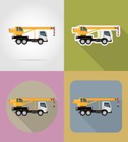 vrachtwagen kraan voor bouw plat pictogrammen vector illustratie