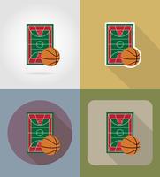 basketbalveld plat pictogrammen vector illustratie