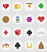 casino-objecten en apparatuur plat pictogrammen vector illustratie