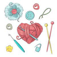 Instellen voor handgemaakte bal van garen en accessoires voor haken en breien. vector