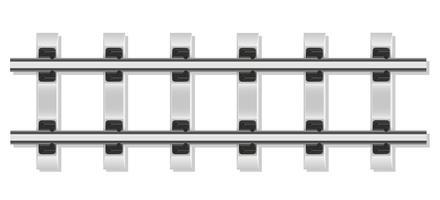 spoorwegrails en betonnen dwarsliggers vectorillustratie
